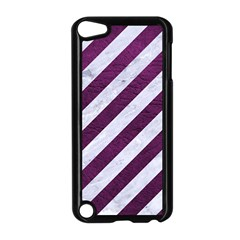 Stripes3 White Marble & Purple Leather (r) Apple Ipod Touch 5 Case (black) by trendistuff