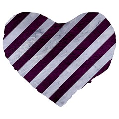 Stripes3 White Marble & Purple Leather (r) Large 19  Premium Heart Shape Cushions by trendistuff