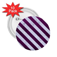 Stripes3 White Marble & Purple Leather 2 25  Buttons (10 Pack)  by trendistuff