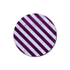 Stripes3 White Marble & Purple Leather Rubber Round Coaster (4 Pack)  by trendistuff