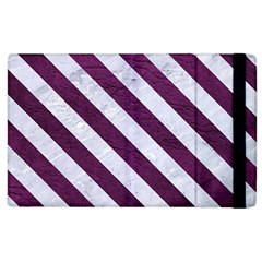Stripes3 White Marble & Purple Leather Apple Ipad 2 Flip Case by trendistuff