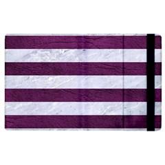 Stripes2white Marble & Purple Leather Apple Ipad 2 Flip Case by trendistuff