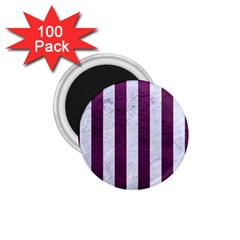 Stripes1 White Marble & Purple Leather 1 75  Magnets (100 Pack)  by trendistuff