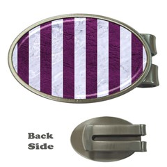 Stripes1 White Marble & Purple Leather Money Clips (oval)  by trendistuff