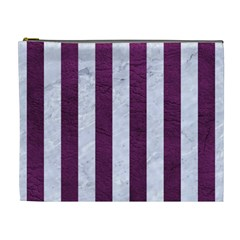Stripes1 White Marble & Purple Leather Cosmetic Bag (xl) by trendistuff
