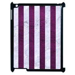Stripes1 White Marble & Purple Leather Apple Ipad 2 Case (black) by trendistuff