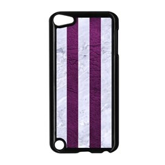 Stripes1 White Marble & Purple Leather Apple Ipod Touch 5 Case (black) by trendistuff