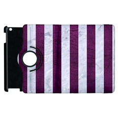 Stripes1 White Marble & Purple Leather Apple Ipad 2 Flip 360 Case by trendistuff