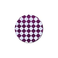 Square2 White Marble & Purple Leather Golf Ball Marker (10 Pack) by trendistuff
