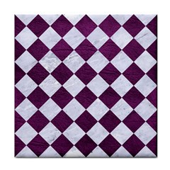 Square2 White Marble & Purple Leather Face Towel by trendistuff