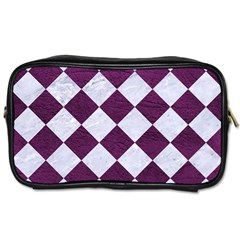 Square2 White Marble & Purple Leather Toiletries Bags 2 Side by trendistuff