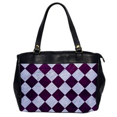 Square2 White Marble & Purple Leather Office Handbags by trendistuff