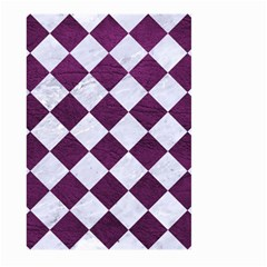 Square2 White Marble & Purple Leather Large Garden Flag (two Sides) by trendistuff