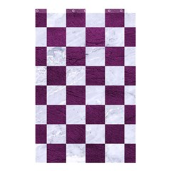 Square1 White Marble & Purple Leather Shower Curtain 48  X 72  (small)  by trendistuff