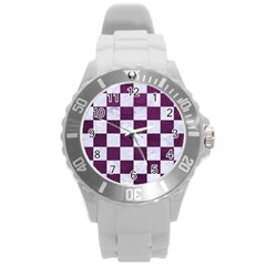 Square1 White Marble & Purple Leather Round Plastic Sport Watch (l) by trendistuff