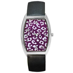 Skin5 White Marble & Purple Leather (r) Barrel Style Metal Watch by trendistuff
