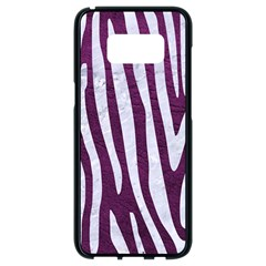 Skin4 White Marble & Purple Leather (r) Samsung Galaxy S8 Black Seamless Case