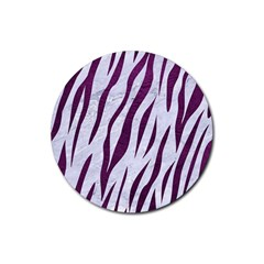 Skin3 White Marble & Purple Leather (r) Rubber Coaster (round)  by trendistuff