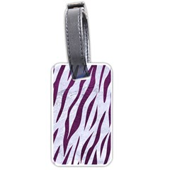 Skin3 White Marble & Purple Leather (r) Luggage Tags (one Side)  by trendistuff