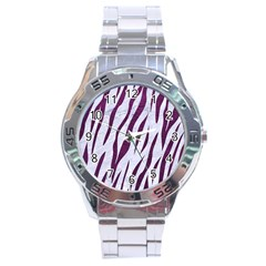 Skin3 White Marble & Purple Leather (r) Stainless Steel Analogue Watch by trendistuff