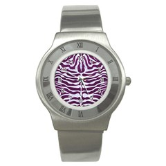 Skin2 White Marble & Purple Leather Stainless Steel Watch by trendistuff
