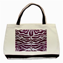 Skin2 White Marble & Purple Leather Basic Tote Bag by trendistuff