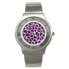Skin1 White Marble & Purple Leather (r) Stainless Steel Watch by trendistuff