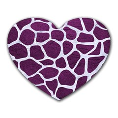 Skin1 White Marble & Purple Leather (r) Heart Mousepads by trendistuff