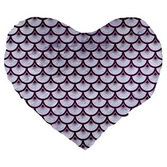 Scales3 White Marble & Purple Leather (r)scales3 White Marble & Purple Leather (r) Large 19  Premium Flano Heart Shape Cushions by trendistuff