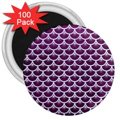 Scales3 White Marble & Purple Leather 3  Magnets (100 Pack) by trendistuff