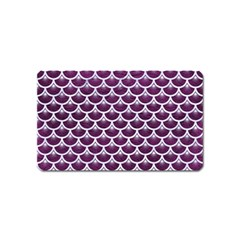 Scales3 White Marble & Purple Leather Magnet (name Card) by trendistuff