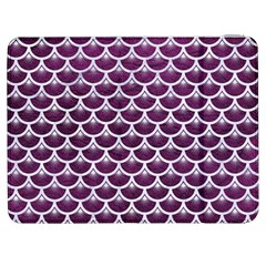 Scales3 White Marble & Purple Leather Samsung Galaxy Tab 7  P1000 Flip Case by trendistuff