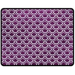 Scales2 White Marble & Purple Leather Double Sided Fleece Blanket (medium)  by trendistuff