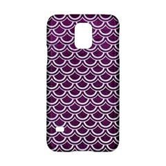 Scales2 White Marble & Purple Leather Samsung Galaxy S5 Hardshell Case