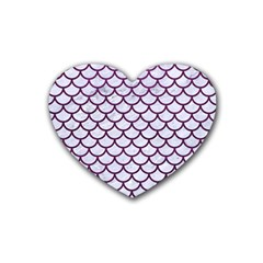 Scales1 White Marble & Purple Leather (r) Heart Coaster (4 Pack)  by trendistuff
