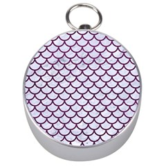 Scales1 White Marble & Purple Leather (r) Silver Compasses by trendistuff