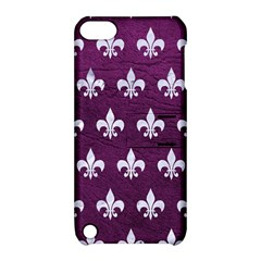 Royal1 White Marble & Purple Leather (r) Apple Ipod Touch 5 Hardshell Case With Stand by trendistuff