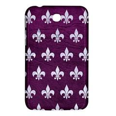 Royal1 White Marble & Purple Leather (r) Samsung Galaxy Tab 3 (7 ) P3200 Hardshell Case  by trendistuff
