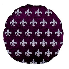Royal1 White Marble & Purple Leather (r) Large 18  Premium Flano Round Cushions by trendistuff