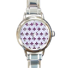 Royal1 White Marble & Purple Leather Round Italian Charm Watch