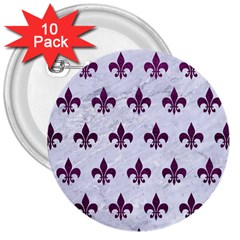 Royal1 White Marble & Purple Leather 3  Buttons (10 Pack)  by trendistuff