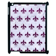 Royal1 White Marble & Purple Leather Apple Ipad 2 Case (black) by trendistuff