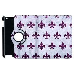 Royal1 White Marble & Purple Leather Apple Ipad 3/4 Flip 360 Case