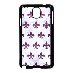 Royal1 White Marble & Purple Leather Samsung Galaxy Note 3 Neo Hardshell Case (black) by trendistuff