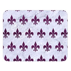 Royal1 White Marble & Purple Leather Double Sided Flano Blanket (large)  by trendistuff