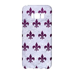 Royal1 White Marble & Purple Leather Samsung Galaxy S8 Hardshell Case  by trendistuff