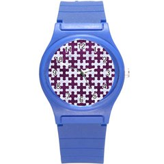 Puzzle1 White Marble & Purple Leather Round Plastic Sport Watch (s) by trendistuff