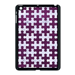 Puzzle1 White Marble & Purple Leather Apple Ipad Mini Case (black) by trendistuff