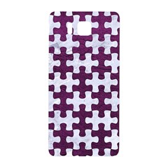 Puzzle1 White Marble & Purple Leather Samsung Galaxy Alpha Hardshell Back Case by trendistuff
