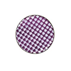 Houndstooth2 White Marble & Purple Leather Hat Clip Ball Marker by trendistuff